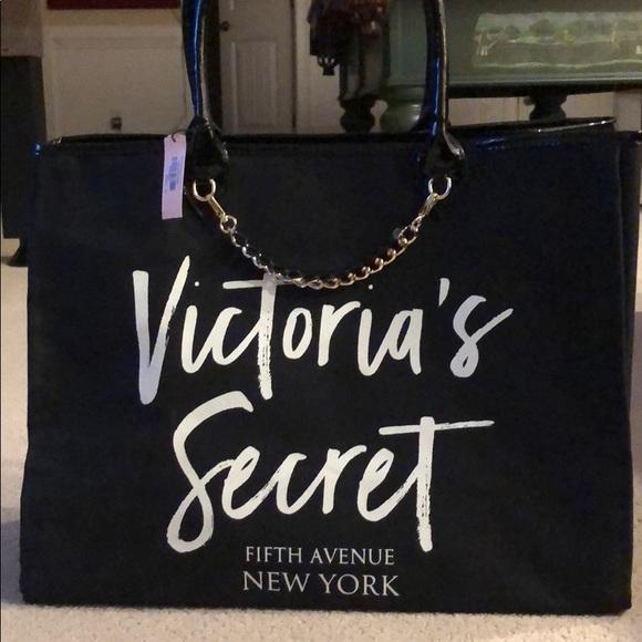 Victoria s Secret tote bag black gold New York 632c9721c3991