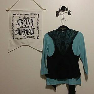 Womens assymetrical black lace vest sz Lg