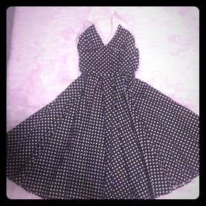 Pinup Couture polka dot dress in B&W