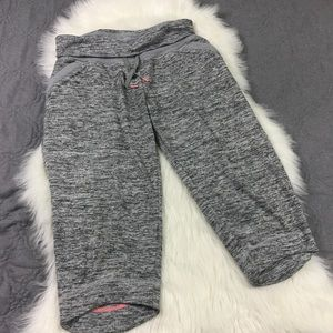 Gray Space Dyed Cropped Athleta Fold Over Sweats L