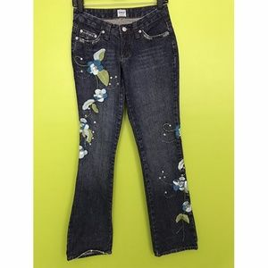 Guess Floral Embroidered Denim Blue Jeans 24""