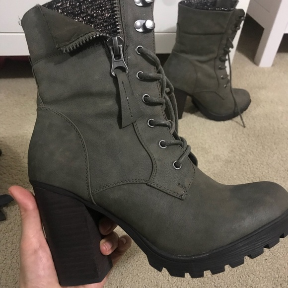 79dadb6c4cce Call It Spring Shoes - Call It Spring Khaki lace up chunky heel boots 7.5