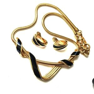 Monet Black Enamel Twisted Necklace And Earrings