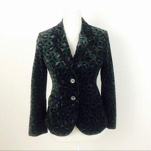 Boden Green Purple Velvet Leopard Print Blazer