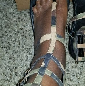 Rachel Zoe Flat Camo Ankle Buckle Sandals