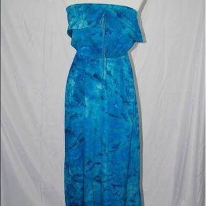 Blue Tie-Dye Strapless Maxi-Dress