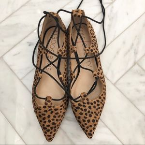 Sole Society leopard lace up flats