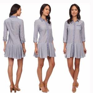 Sam Edelman Blue Drop Waist Shirtdress Button Down
