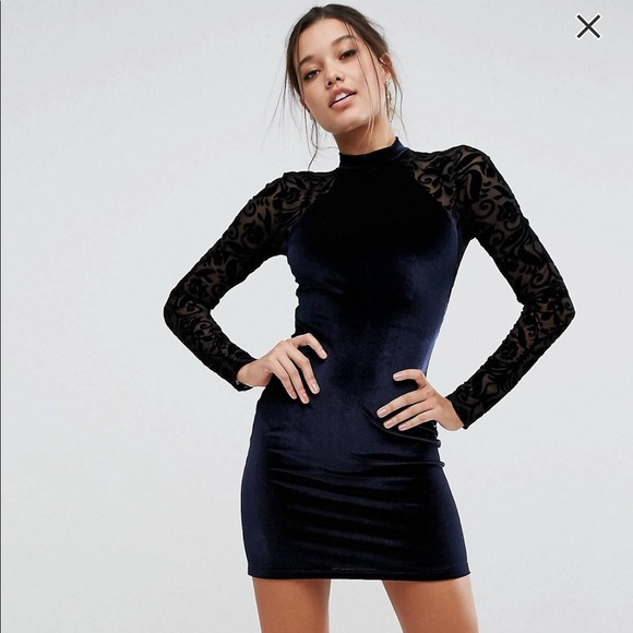8ab852a1aadb ASOS Dresses & Skirts - ASOS Velvet & Lace long sleeve bodycon mini dress