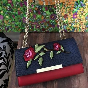 Aldo Red Rose Floral Clutch Wallet on Chain WOC