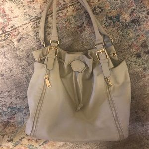 Taupe shoulder bag with Draw string