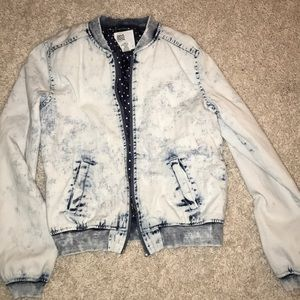 Acid wash bomber jacket