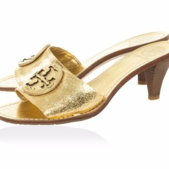 42bda755a3dd Tory Burch Aerin Metallic Gold Slides Heels 6.5. M 5a24f354f09282728d0bb8b4