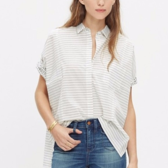 55d6324e Madewell Tops | Grid Striped Courier Shirt | Poshmark