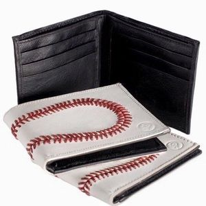 Real Baseball Leather Wallet with 108 Red Seams
