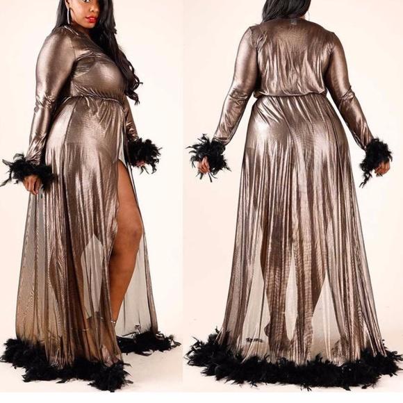 Intimates & Sleepwear | Plus Black Feather Dressing Gown Maxi Robe ...