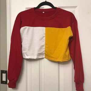 Color Blocked Cropped Sweater