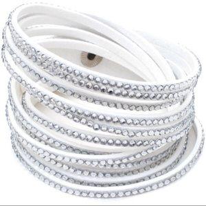 Jewelry - Austrian Crystal Vegan Leather Wrap Bracelet