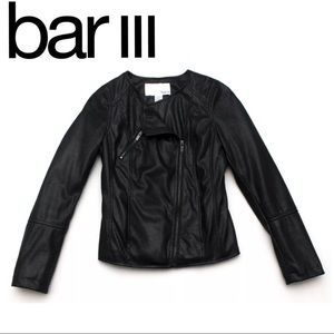 Bar III Vegan Faux Leather Jacket Moto Black XS