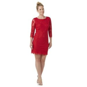 Women Sheath red dress Floral lace Petite Large