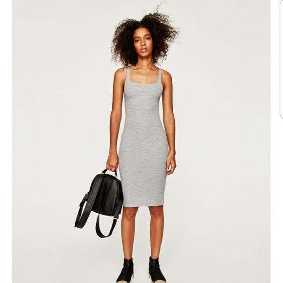 f875212bf7b6 Zara Dresses | Trafaluc Grey Bodycon Midi Dress Sz M | Poshmark