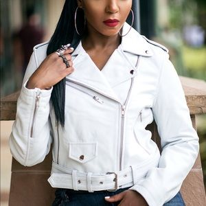 05a817e0b Jackets & Blazers - White HAUTE Genuine Leather Biker Jacket