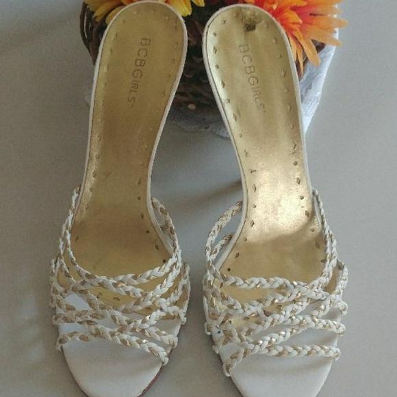 Bcbg *Please read* white/gold braided heels.