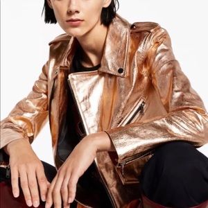 468cf87d934 Metallic Rose Gold Genuine Leather Jacket. Boutique