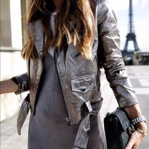 2804b0afca2 Metallic Pewter Genuine Leather Jacket. Boutique