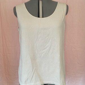 Striped Tan & White Sleeveless Top