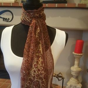 Brown Print Semi Sheer Scarf New with Tags.