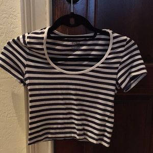 Navy and white striped crop top
