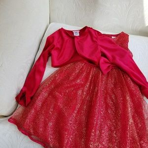 Adorable  Red and Gold Dress with  Red Velvet Jack