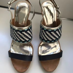 Coach silver pumps with weave detail
