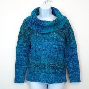PACIFIC HEIGHTS BLUE CHUNKY KNIT COWL NECK SWEATER