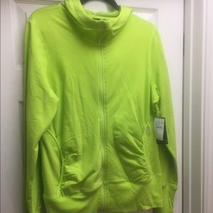 Lime Punch Ruched Front and Sleeve Hoodie
