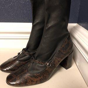 Zara Women's leather, snake chunky heel size 7 1/2