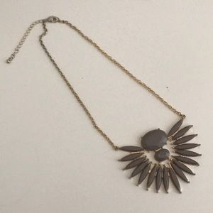 Gold and Gray Statement Necklace HM Jewelry