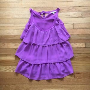 BR Size S Purple Sleeveless Tiered Silk Tank