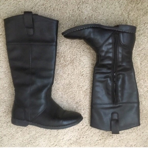 247532415 Tall Faux Leather Black Boots For Girls ***. M_5a256f6bea3f3667d60ca32e