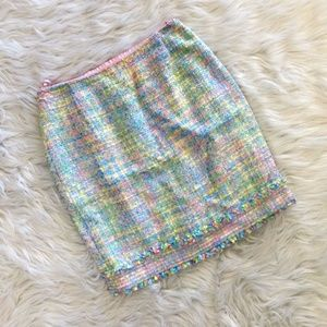 Escada Pastel Tweed Mini Pencil Skirt