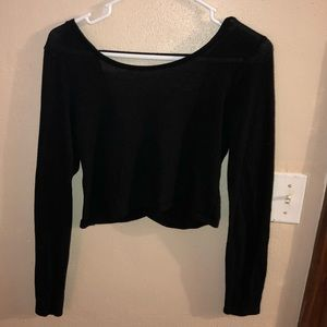 aerie Crop Top Cross Back Sweater Size L (fits S)