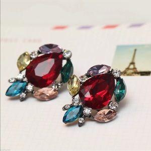 LRuby Cluster Earrings