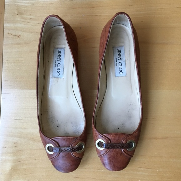 c873ad09e0f8 Jimmy Choo Shoes | 37 7 Tan Leather And Snake Ballet Flats | Poshmark