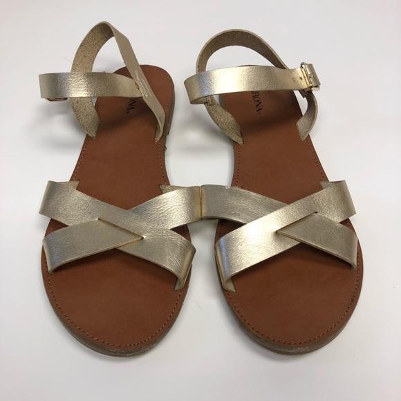 Target Merona Gold Flat Sandals | Poshmark