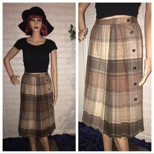 Vintage 70's Plaid Pleated Wool Maxi Skirt