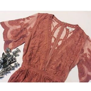 Honey Punch Plunge Lace Romper Maxi Dress Rose