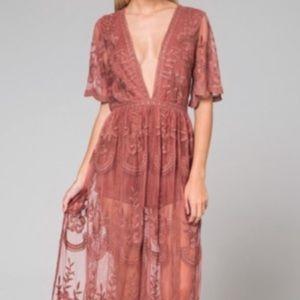 5ffe8b6c40e Honey Punch Dresses - Honey Punch Plunge Lace Romper Maxi Dress Rose
