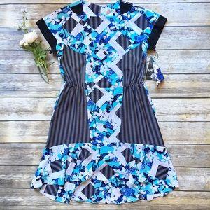 NWT PETER PILOTTO Blue & Black Floral Dress - 6