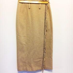 Vintage | Light Brown Wrap Skirt with Fringe